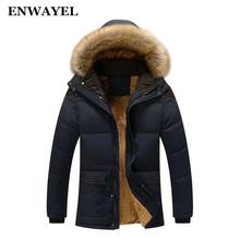ENWAYEL Winter Thick Warm Cotton Male Jacket Men Parka Faux Fur Hood Hooded Casual Wadded Outerwear Fashion Padded Quilted Coat(China)