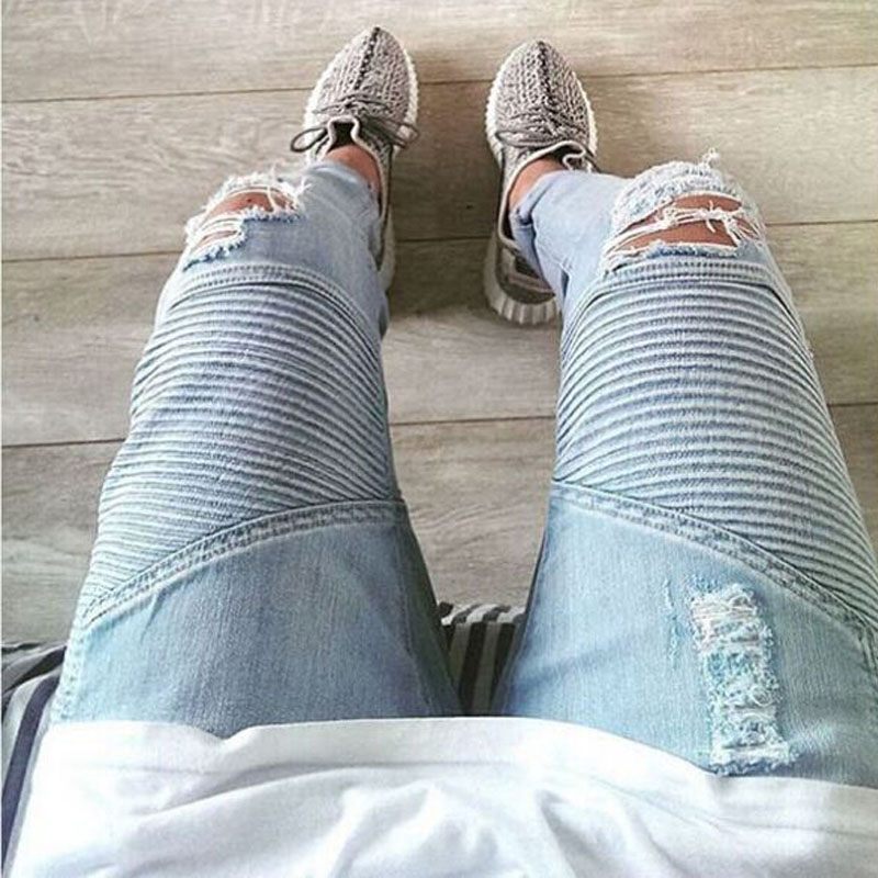 2017 Men Jeans Casual Biker Jeans Fashion Design Skinny Hiphop Men Pants igh quality mens jeansОдежда и ак�е��уары<br><br><br>Aliexpress