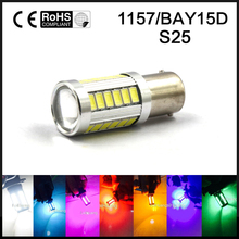 2X S25 1157 BAY15D 33 LED P21/5W 2057 7528 Car Tail Led Bulbs Brake Lights White Ice Blue Pink Green Yellow Red amber