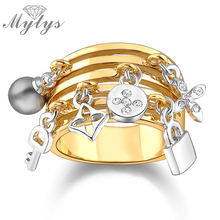 Mytys Key and Lock Ring Pearl Adorns Antique  Yellow GP Fashion Rings for Women Gift Jewelry  R317