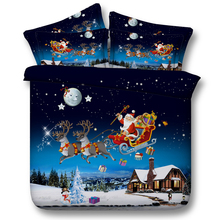 Santa Claus Bedding Set Twin Full Queen Super Cal King Size Bed Bedspread Comforter Duvet Covers Merry Christmas Blue Snowmobile