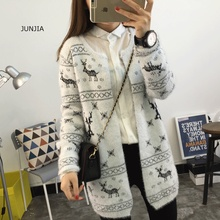 2017 Winter Cardigan Women Long Sweater Knitwear Mohair Pull Femme Korean Warm Sweater With Deer Christmas Jumper