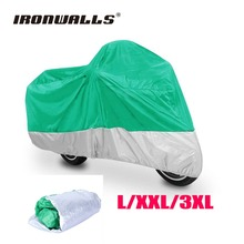 Ironwalls L/XXL/3XL Motorcycle Waterproof Cover Dust Green Silver Storage For Honda Kawasaki Harley Dyna Softail Cruiser Scooter