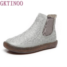 GKTINOO Genuine Leather Women Short Boots Chelsea Flower Plush Flat Heels Handmade Vintage Ankle Boots Female Winter Big Size(China)