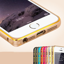 ITEUU 5S SE Metal Bumper Case for iPhone 5 5S SE Hippocampal Button Lock Aluminum Alloy Hard Frame with Gold Side for iPhone 5S(China)