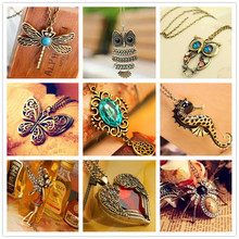 Vintage Necklaces Women Owl Feather Heart Butterfly Cat Pendant Necklace Long Chain Antique Collares Fashion Jewelry Bijoux X86