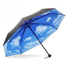New Qualified Anti UV Sun Protection Umbrella Sky 3 Folding Parasols Rain Umbrella  Levert Dropship dig6825