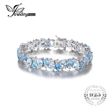 JewelryPalace Luxury 23ct Multi London Blue Topaz Link Tennis Bracelet Real 925 Sterling Silver jewelry For Women Party Gift(China)