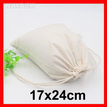 "(100pcs/lot) size W17xH24cm(6.8x9.6"") wholesale blank plain cotton drawstring gift bag with logo(China)"