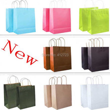 27*21*11cm Paper bag with handles,Kraft paper bag, Valentine New Year party favor gift paper bags fashion clothes shopping bags(China)