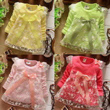 Retail! New 2017 baby girls shirts  children clothing cotton  kids bow lace princess shirt like dress 4colors Good Quality