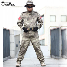 ATACS Men Cotton Camouflage Suit Airsoft Paintball Training Military Uniform Set CS Training Hunting Set (Jacket+Pants)