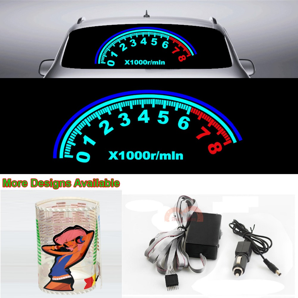 Speedometer Music Rhythm Strips Flash Light Car Sticker Sound Activated Equalizer 80cm*30cm 31.5*11.8in<br>