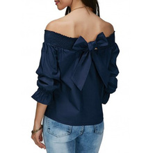2017 Western Style Ladies Slash Neck Ruffles Petal Sleeve Tops Tees Off Shoulder Shirts Women Tops Vintage Big Bow Party Shirt