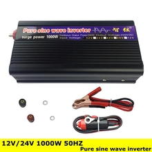 Peak Power 1000W DC/AC Inverter Converter Pure Sine Wave OFF Grid Inverter Converter DC 12V/24V to AC220V 50HZ for TV/Computer(China)