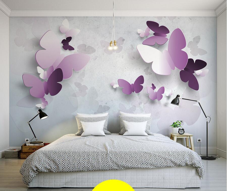 Custom elegant stereo Purple Butterfly 3D modern wallpaer papel de parede,living room sofa TV wall children bedroom large murals<br>