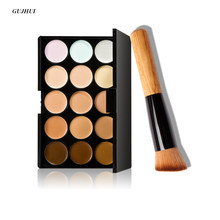 GUJHUI 15 Colors Makeup Concealer Contour Palette + Makeup Brush Multi-Function Face Make up face powder blusher Tools Cosmetic(China)