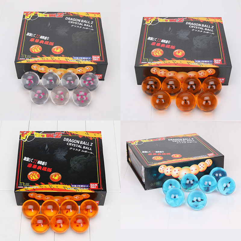 4cm Dragon ball Z 7 star crystal ball 7pcs/set orange pink blue black stars Action Figure TOY FS Promotion Japan Anime star ball(China)