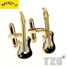 TZG09080 Gold Guitar Cufflink Cuff Link 1 Pair Free Shipping Promotion(China)