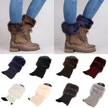 1 X New Fashion Women Crochet Knit Fur Trim Leg Warmers Cuffs Toppers Boot Socks
