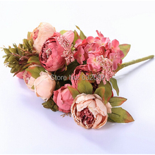 Beautiful One Branch Peony Flower with 8 flower heads Home Decoration Artificial Flower Light Pink and Dark Pink China Peony