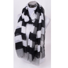shawls and scarves from india black white striped printed bandana Women scarf floppy autumn winter scarf female prices in euros(China)