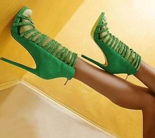 2017 Fashion Style Green Sandals women bling bling mixed colors women shoes zipper summer ankle boots high heels sandals mujer