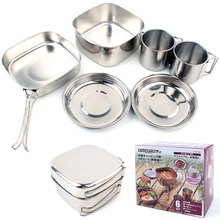 6Pcs/Set outdoor camping stainless steel cookware picnic set of bowls 3-4 people BBQ combination pot outdoor tableware(China)