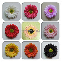 Free Shipping Hot Sale 40pcs 4'' Wedding Flower Hair Accessory Artificial Silk Gerbera Daisy Flower Hair Clips For Bridal Girls(China)