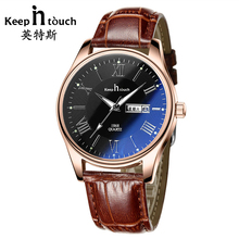 Famous Brand Fashion Watches Men Women Quartz Gold Leather Calendar Watch For Lovers Luminous Luxury Relogio Masculino With Box