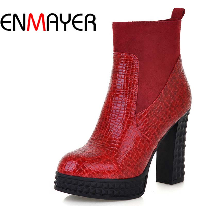 ENMAYER Black Red PU + Flock Ankle Boots For Women New Zip Round Toe Fashion High Boots Shoes Big Size 34-43 Winter Martin Boots<br>