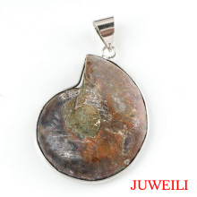 JUWEILI Jewelry Retail 1x Different Half Natural Ammonite Conch Petrification Reiki Pendant Necklace European Women Men Amulet(China)