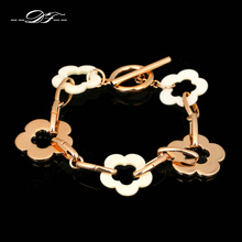 Top Quality Five Flowers Acrylic Rose Gold Color Charm Bracelets & Bangles Party Fashion Jewelry For Women Wholesale DFH210