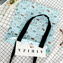 YILE Eco Casual Shopping Tote Cotton Linen Shoulder Bag Printed Cat Light Blue Base Black Strap L515(China)