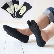 New 1 pair Fashion Cotton Men's Five Finger Socks Toe Socks Invisible Nonslip Ankle Breathable anti-skid Toe Socks