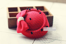 Lady Girl Lovely Hair Clip 2016 Bowknot Beret Hat Fascinator Hair Clip Net Pillbox Hat Fascinator Hair Clip Accessory Flower Cap(China)