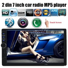 hand free bluetooth phone touch screen 2 din 7 inch car radio MP5 MP4 player 5 languages stereo FM USB TF Auxin for rear camera(China)