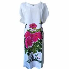 White Floral Lady Robe Cotton Sexy Night Dress Casual Rayon Nightwear Printed Novelty Nightgown 2017 New Home Wea One Size(China)