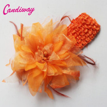 2017 Fashion Hairclip Orange Hairwear Women Girls Elastic Flower Hairpins Barrette Wedding Decoration Hair Accessories Headband(China)