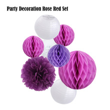 Rose Red Paper Crafts 8pcs/Set Purple Decoration Tissue Pom Pom Wedding Decor Round Hanging Paper lanterns Party Supplier