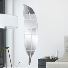 Urijk 1PC Feather Shape Mirror Wall Stickers Bedroom Home Decoration Plastic Self Adhesive Film Accessories 3D Wall Sticker