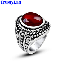 TrustyLan Sales Vintage Stainless Steel Ring Cool Inlay Red Stone Rings For Men Fashion Jewelry Black Mens Ring Punk Rock
