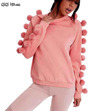 Pink Hoodie Cute Fur Ball Sweatshirt Women Loose Autumn Casual Long Sleeve Youth Women'S Tracksuits Sudaderas Mujer 2016#B11