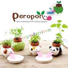 Cute  Ceramic Cultivation Peropon Drinking Animal Planter Cute Animal Tongue Pot Ceramic Self Watering Planter