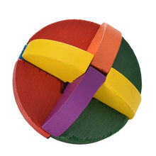 1PC 3D Unique Classical Intellectual Wooden Cube Educational Ball Puzzle Lock Wooden IQ Brain Teaser