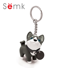 Semk PVC Anime Cartoon Dog Figure Toy 7cm Dog Keychains on bag TrinketHusky Hutti Cute Gifts 1pc(China)