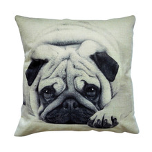 2017 Hot sales Cute Pug Pet Dog black and white home decor sofa Pillow Cushion pillowcase Car linen cushion Decor