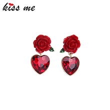Kiss Me Newest Red Resin Rose Crystal Heart Earrings for Girl Summer Dress Accessories Drop Earrings