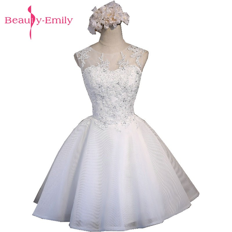 Real Photos Ivory Tulle Evening Dresses Short 2020 Luxury Scoop Appliques Lace-Up Knee-Length Prom Dress Party Gowns Hot
