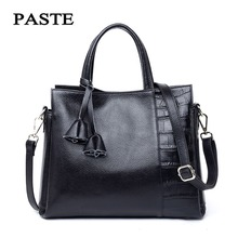 2017 Cow Genuine Leather Black Totes Bags Women Leather Handbags Brand Name Paste China Famous Purses Bags Fashion Design PT1272